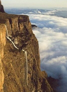 The Tugela Falls which plunges some 948m over the Drakensberg Escarpment is the world's second highest falls