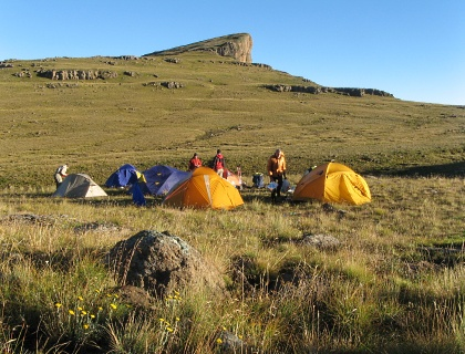 Colourful tents - overnighting on the top of the escarpment, Eastern Butrress in the background