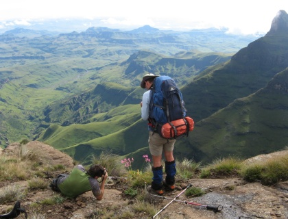 Hikers following the Mweni River